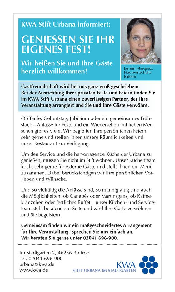 Kolumne des KWA Stifts Urbana im Stadtspiegel Bottrop