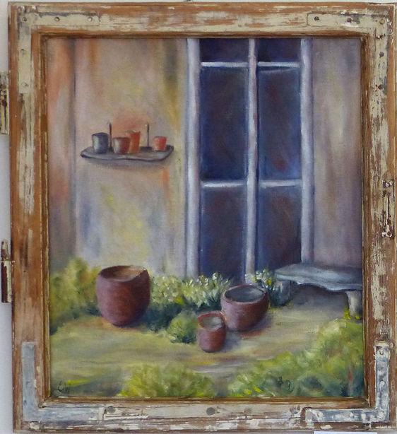 """Gemälde """"Gartenhaus II in altem Fenster"""" von Erika Winterstein"""