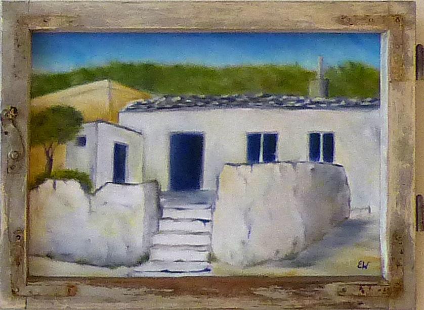 """Gemälde """"Dorf auf Rhodos in altem Fenster"""" von Erika Winterstein"""