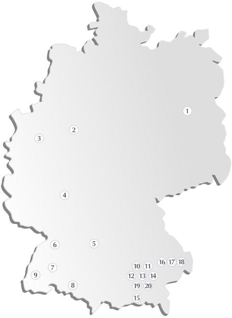 Karte der KWA Standorte