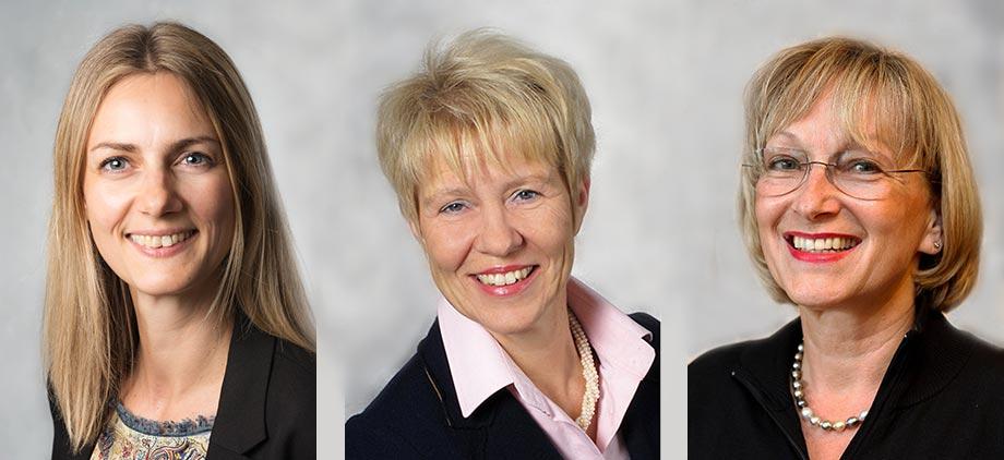 Manuela Knoepfle-Maier (links), Birgit Wannenmacher (mittig) und Marina Gernard, Interessentenberaterinnen im KWA Parkstift Rosenau in Konstanz