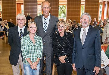 Von links: Moderator Stephan Schmutz, Sandra Gräfin Bernadotte, Talk-Gast Claudius Marx, Talk-Organisatorin Marina Gernard, Stiftsdirektor Herbert Schlecht