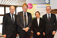 von links: KWA Vorstand Horst Schmieder, Gerontologe Prof. Dr. Thomas Klie,  Ministerialdirigentin Ruth Nowak, KWA Vorstand Dr. Stefan Arend