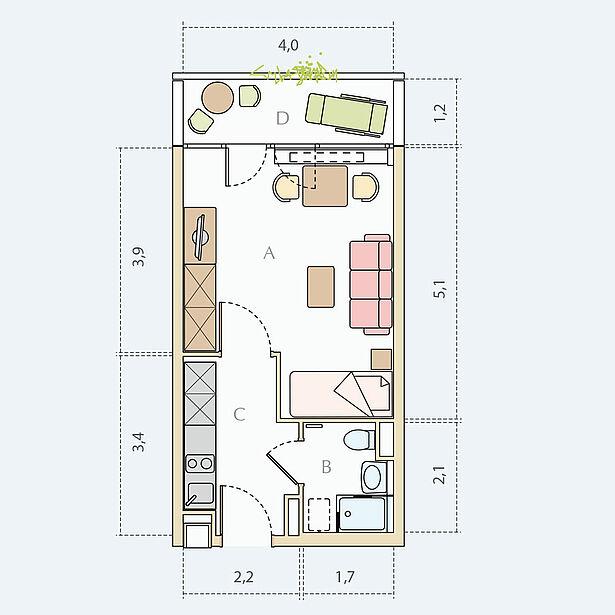 1 - Zimmer - Wohnung, Typ A, ca. 31 m²