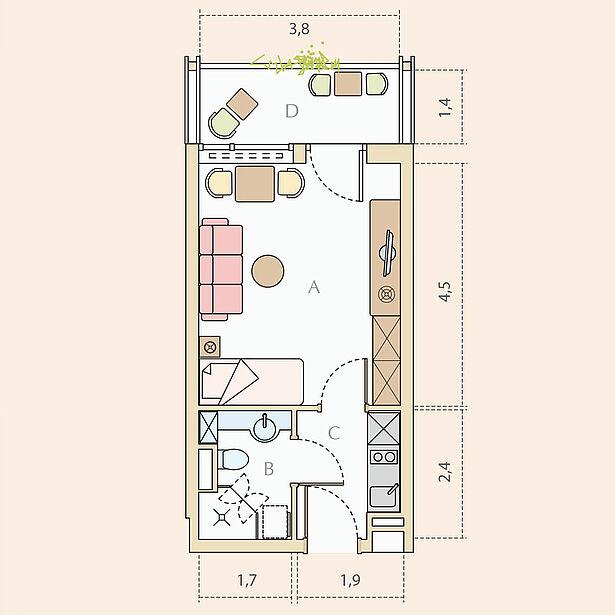 1-Zimmer-Wohnung, Typ B, ca. 26 m²