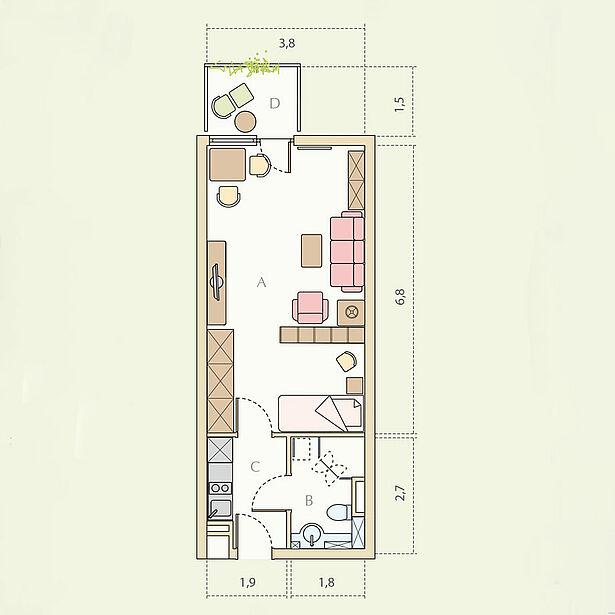 1-Zimmer-Wohnung Typ B, ca. 35 m²