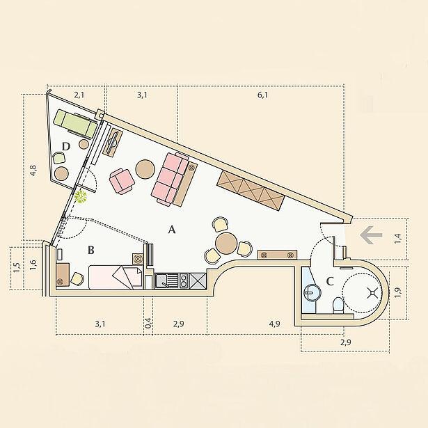 1-Zimmer-Wohnung Typ B, ca. 43m²
