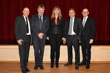 von links: KWA Vorstand Horst Schmieder, Gerontologe Dr. Thomas Klie, Politik- und Sozialwissenschaftlerin Dr. Grit Braeseke, Dr. Axel Klopprogge, KWA Vorstand Dr. Stefan Arend