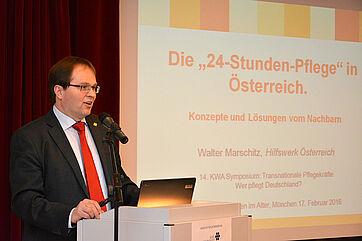 Mag. Walter Marschitz, Geschäftsführer von Hilfswerk Österreich, Wien, stellte ein beliebtes Modell des Nachbarlandes vor: die 24-Stunde-Pflege