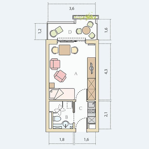 1-Zimmer-Wohnung Typ A, ca. 23 m²