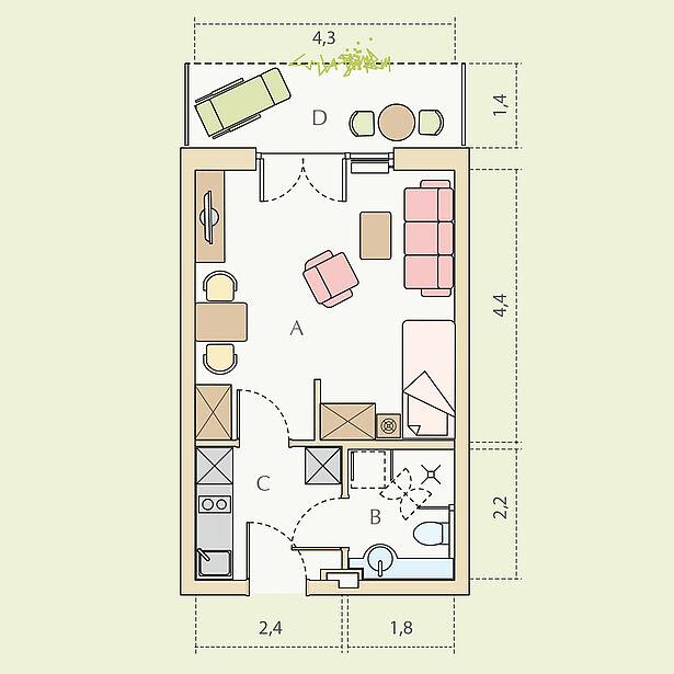 1-Zimmer-Wohnung Typ A, ca. 29 m²