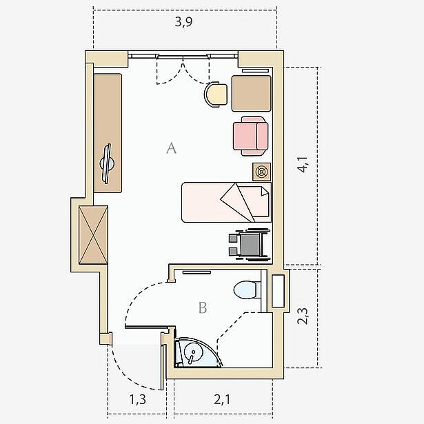 1-Bett-Pflegezimmer Typ A