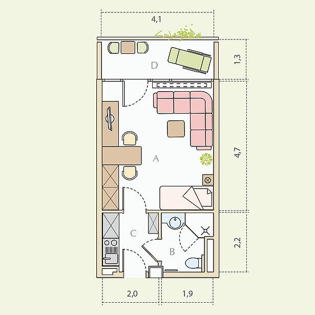 1-Zimmer-Wohnung, Typ A, ca. 28 m²