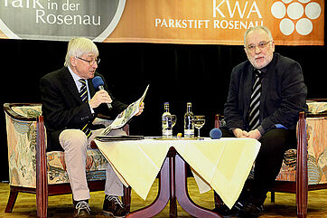 Moderator Stephan Schmutz (links) mit Talk-Gast Mathias Trennert-Helwig