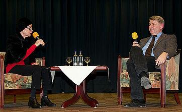 Moderatorin Monique Würtz mit Gast Dominik Gügel, dem Direktor des Napoleon-Museums Arenenberg