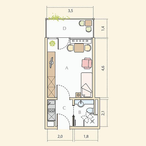 1-Zimmer-Wohnung, ca. 24 m²
