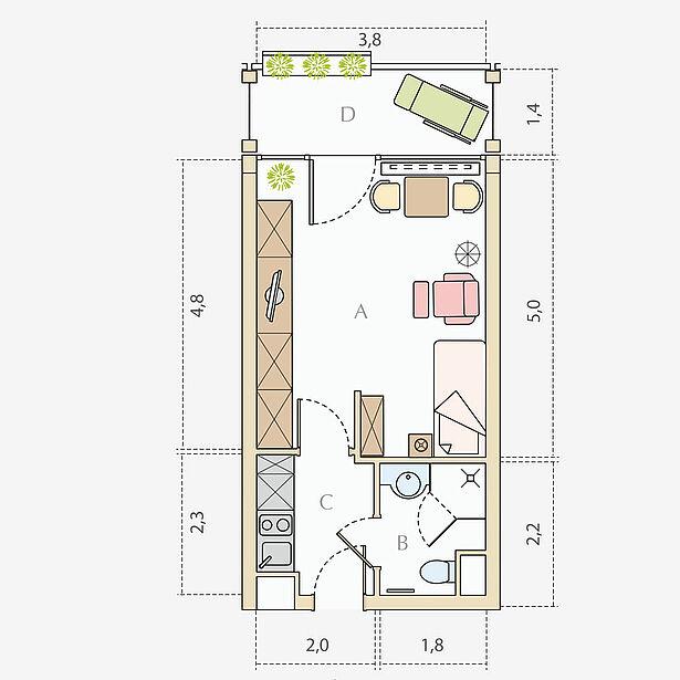 1 Zimmer-Wohnung, Typ A, ca. 33 m²