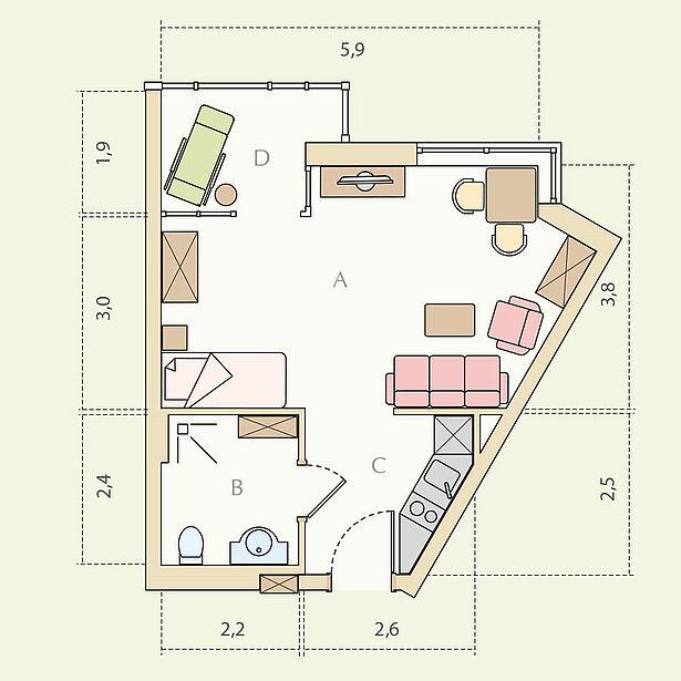 1-Zimmer-Wohnung, Typ E, ca. 36 m²
