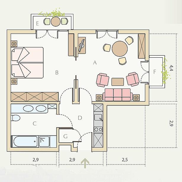 1-Zimmer-Wohnung Typ B, ca. 33 m²