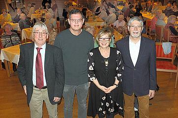 Von links: Moderator Stephan Schmutz, Talk-Gast Hans Leib, Talk-Organisatorin Marina Gernard, Stiftsdirektor Herbert Schlecht