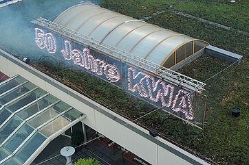 Illumination zur Feier von 50 Jahren KWA im ersten Wohnstift des Unternehmens: dem Georg-Brauchle-Haus in Ramersdorf-Perlach