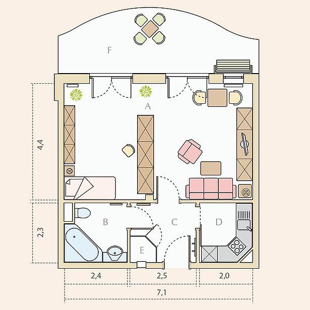 1,5-Zimmer-Wohnung Typ A, ca. 54 m²